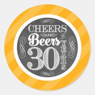 Pegatina Redonda Alegrías y cervezas a 30 años de etiquetas