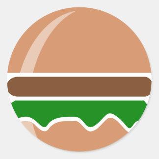 Pegatina Redonda Alimentos de preparación rápida de la hamburguesa