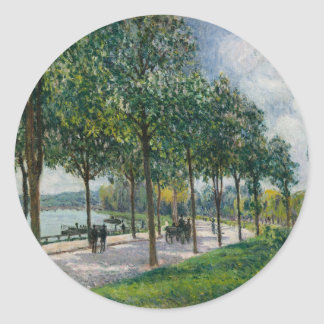 Pegatina Redonda Allée de los árboles de castaña - Alfred Sisley