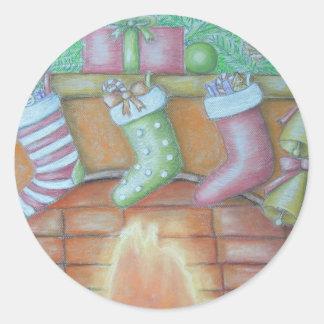Pegatina Redonda Almacenamiento del navidad