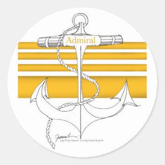 Pegatina Redonda almirante del oro, fernandes tony