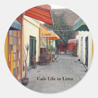 Pegatina Redonda Almuerzo barato de la calle del café en Lima