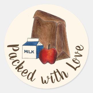 Pegatina Redonda Almuerzo escolar del bolso de Brown lleno con amor