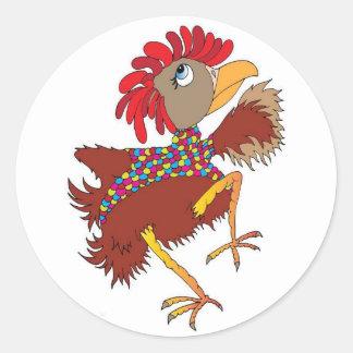 Pegatina Redonda Amantes del pollo