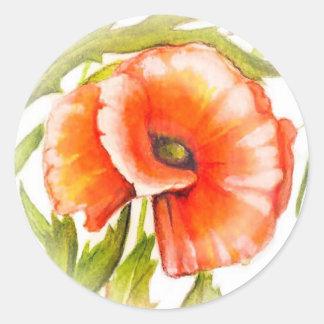 Pegatina Redonda Amapola botánica floral del rojo del arte de