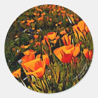 Pegatina Redonda Amapolas mexicanas anaranjadas del oro que