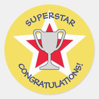 Pegatina Redonda Amarillo del trofeo de la estrella de la