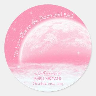 Pegatina Redonda Ámele a la fiesta de bienvenida al bebé rosada del