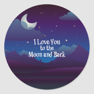 Pegatina Redonda Ámele a la luna y a la parte posterior, añil azul