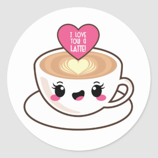 Pegatina Redonda Ámele un Latte EMoji