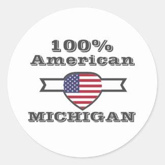 Pegatina Redonda Americano del 100%, Michigan