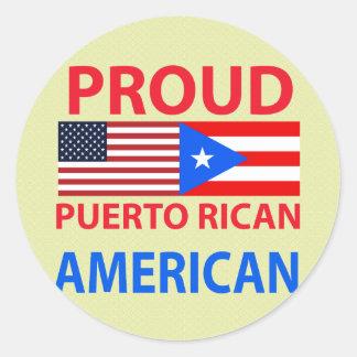 Pegatina Redonda Americano puertorriqueño orgulloso