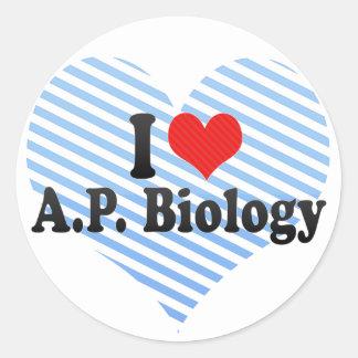 Pegatina Redonda Amo a A.P. Biology