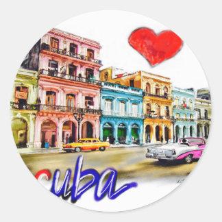 Pegatina Redonda Amo Cuba