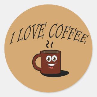 Pegatina Redonda Amo el café