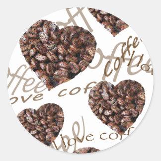 Pegatina Redonda ¡Amo el café!!