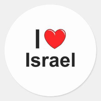 Pegatina Redonda Amo el corazón Israel
