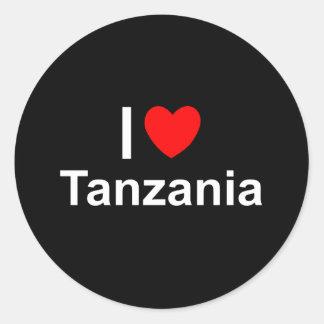 Pegatina Redonda Amo el corazón Tanzania