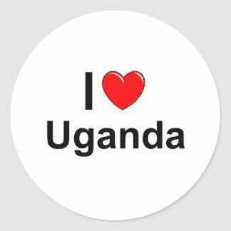 Pegatina Redonda Amo el corazón Uganda