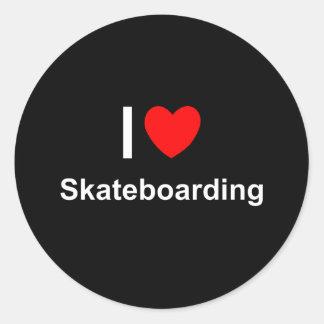 Pegatina Redonda Amo el Skateboarding del corazón
