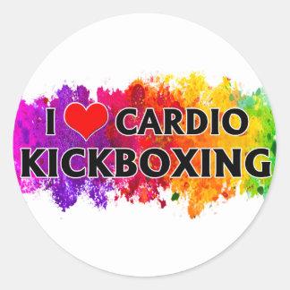 Pegatina Redonda Amo Kickboxing cardiio