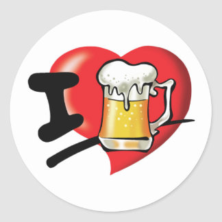 Pegatina Redonda Amo la cerveza