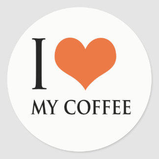 Pegatina Redonda Amo mi café