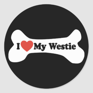 Pegatina Redonda Amo mi Westie - hueso de perro