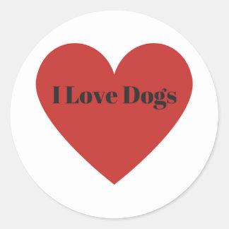 Pegatina Redonda Amo perros