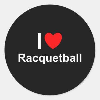 Pegatina Redonda Amo Racquetball del corazón