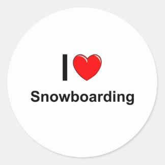 Pegatina Redonda Amo snowboard del corazón