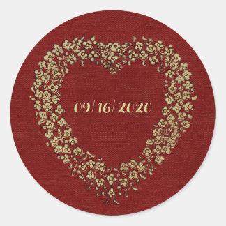 Pegatina Redonda Amor elegante del corazón del vintage floral rojo