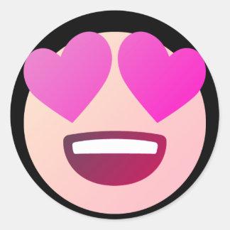 Pegatina Redonda Amor Emoji