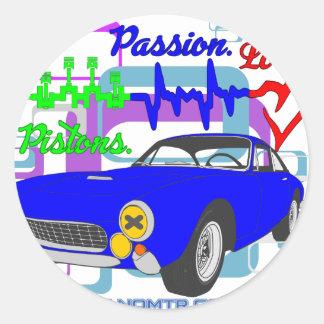 Pegatina Redonda amor F250Lusso de la pasión de los pistones
