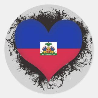 Pegatina Redonda Amor Haití del vintage I