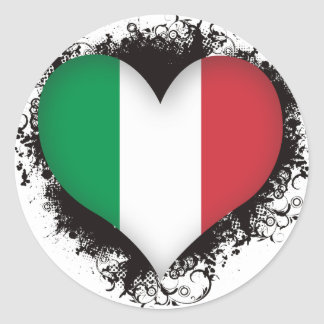Pegatina Redonda Amor Italia del vintage I
