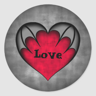 Pegatina Redonda Amor rojo gótico del el día de San Valentín del