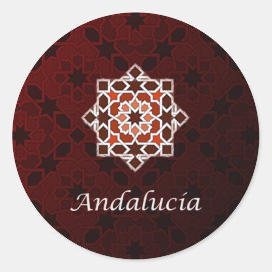 Pegatina Redonda Andalucía arte de azulejo y cerámica marroquí en