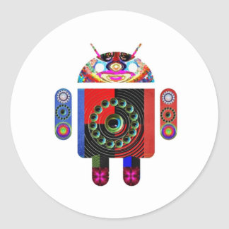 Pegatina Redonda androide extranjero - Art101 por Navin