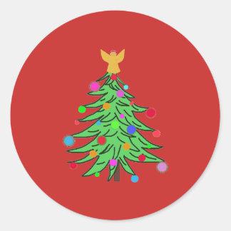 Pegatina Redonda Ángeles de ChristmasTree de los pegatinas del