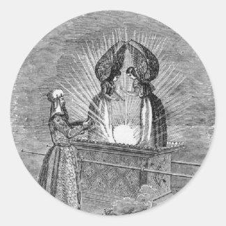 Pegatina Redonda Ángeles sobre la Arca de la Alianza
