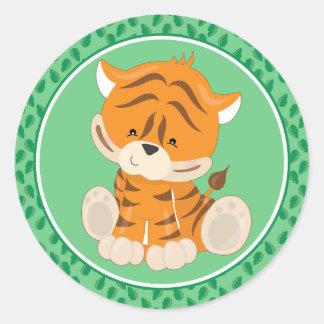 Pegatina Redonda Animales del safari del bebé del tigre el |