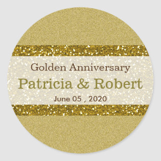 Pegatina Redonda Aniversario de boda de oro del brillo 50.o del oro