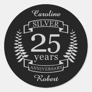 Pegatina Redonda Aniversario de bodas de plata 25 años