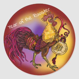 Pegatina Redonda Año chino del zodiaco del gallo