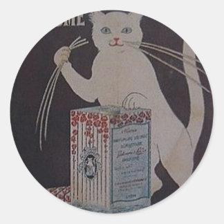 Pegatina Redonda Anuncio francés del vintage - gatos