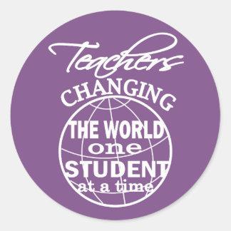 Pegatina Redonda Aprecio del profesor que cambia el mundo