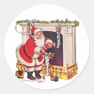 Pegatina Redonda Aquí viene Papá Noel/los pegatinas