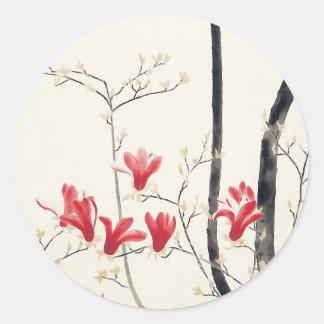 Pegatina Redonda Árbol de la magnolia de Kobayashi Kokei,