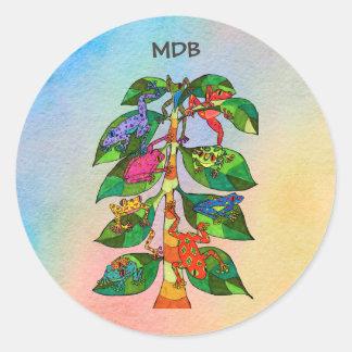 Pegatina Redonda Árbol de la rana de Oaxacan del monograma del